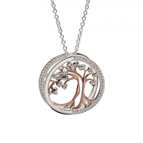Sterling Silver Round Round Tree Of Life Necklace